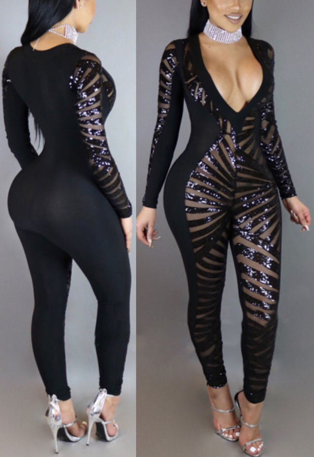 Sexy V Neck Long Sleeves See-Through Black Qmilch One-piece Skinny Jumpsuits
