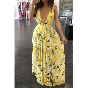 Charming  V Neck Printed Backless Yellow Chiffon Floor Length Dress