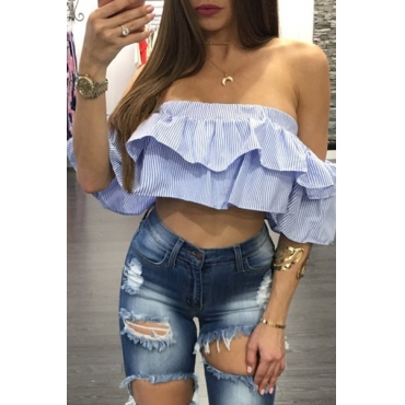 Trendy Dew Shoulder Short Sleeves Falbala Design Blue Polyester Shirts