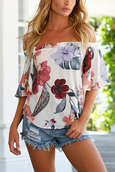 Fashion Dew Shoulder Floral Print White Polyester Shirts