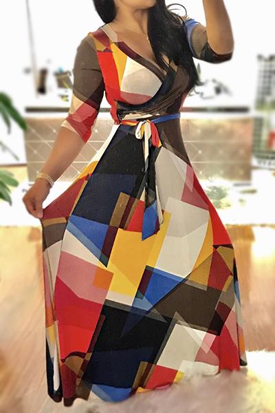 V Neck Elegante Impresso Vestido De Vestido De Tecido Preto Preto Saudável (com Cinto)