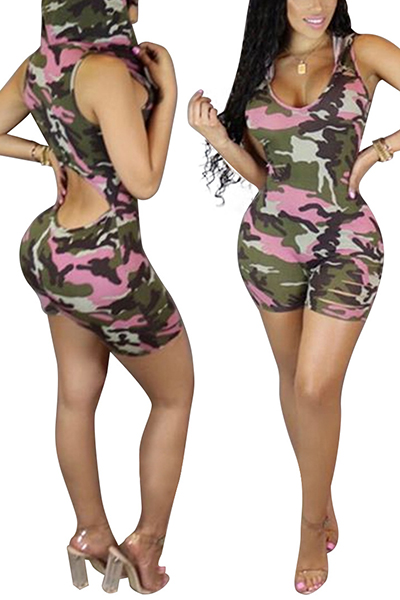 Leisure Hooded Collar Sleeveless Camouflage Printed Cotton One-piece Skinny Jumpsuits