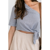 Pullovers Cotton Short Sleeve Striped Blouses&Shir
