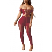 Sexy Dew Shoulder Hollow-out Wine Red Polyester Two-piece Pants Set