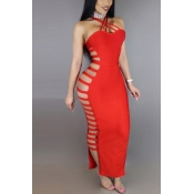 Polyester Sexy V Neck Sleeveless Ankle Length Dres