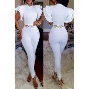 Stylish Round Neck Short Sleeves Falbala Design Wh