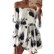 Polyester Fashion Bateau Neck Long Sleeve Mini Dre
