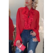 Pullovers Chiffon V Neck Long Sleeve Solid Blouses