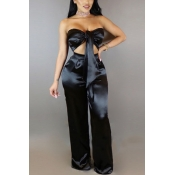 Charming Dew Shoulder High Waist Black Satin Two-piece Pants Set