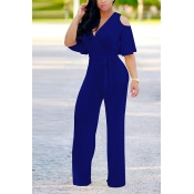 Stylish V Neck Half Sleeves Hollow-out Royalblue  Qmilch One-piece Jumpsuits (With Belt)