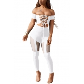 Sexy Dew Shoulder Hollow-out White Polyester Two-piece Pants Set