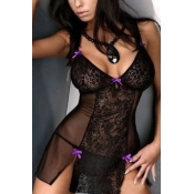 Sexy Patchwork See-Through Black-purple Lace Night