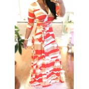 Elegante V Neck Printed White Saudável Tecido Ankle Length Dress (With Belt)