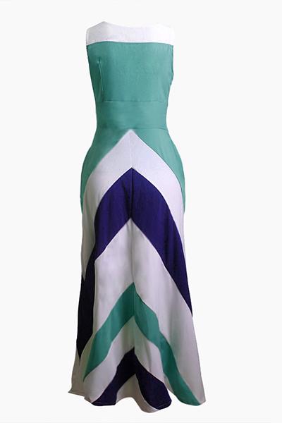 Bohemian V Neck Sleeveless Striped Printed Blue Polyester Ankle Length Dress