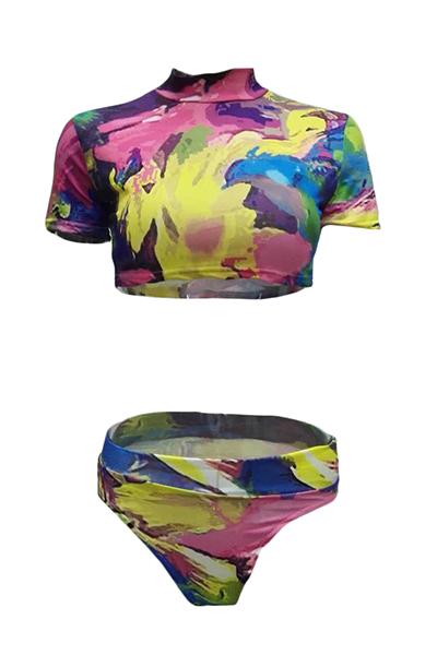 Bikinis en polyester imprimé (trois pièces)