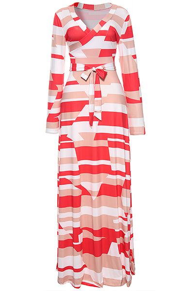 Stylish V Neck Printed White Healthy Fabric Ankle Length Dress (With Belt)