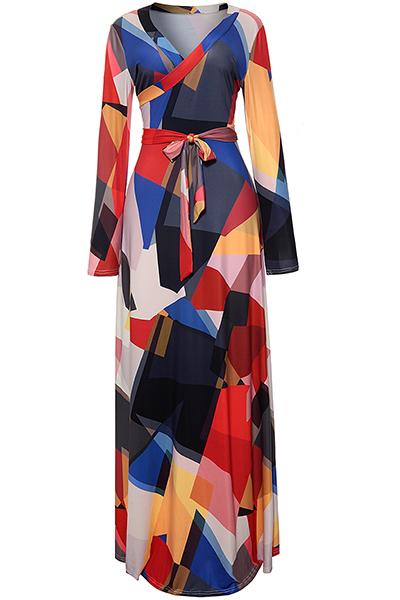 Stilvolle V-Ausschnitt Gedruckt Schwarz Gesunden Stoff Knöchellangen Kleid (mit Gürtel)
