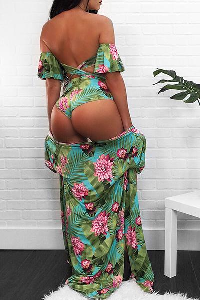 Sexy Printed Cyan Polyester Two-piece Swimwear(Contain Shawl)
