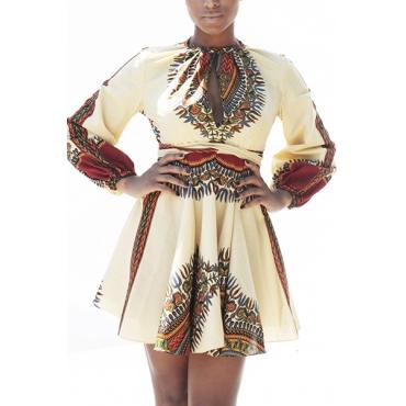 Ethnic Style Round Neck Long Sleeves Totem Printed White Polyester Mini Dress