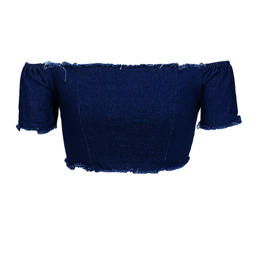 Sexy Dew Shoulder Lace-up Hollow-out Dark Blule Denim Shirts