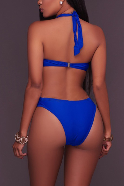 Sexy See-Through Hollow-out Blue Polyester One-piece Swimwear