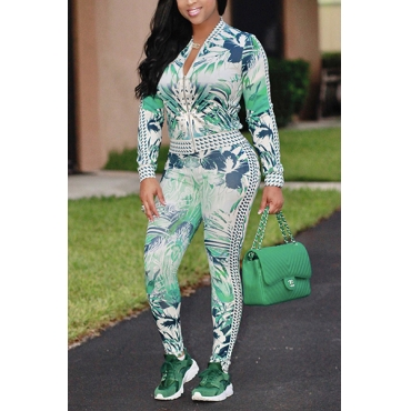 Stylish Mandarin Collar Long Sleeves Printed Green Healthy Fabric Casual Two-piece Pants Set