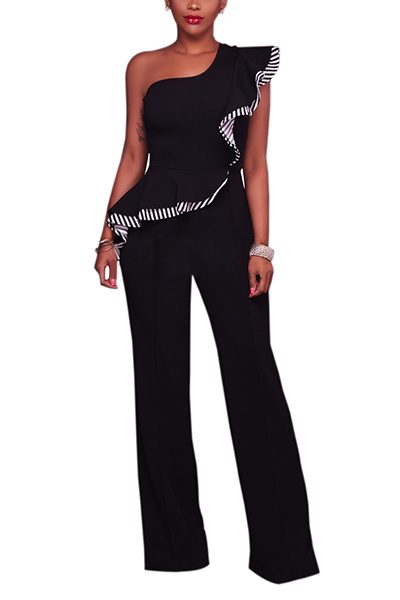 Stylish Asymmetrical Black Cotton One-piece Jumpsuits