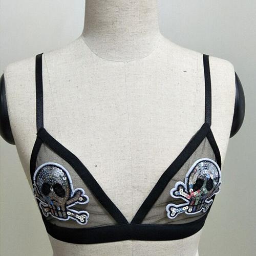 Sexy See-Through Negro Spandex Sujetador