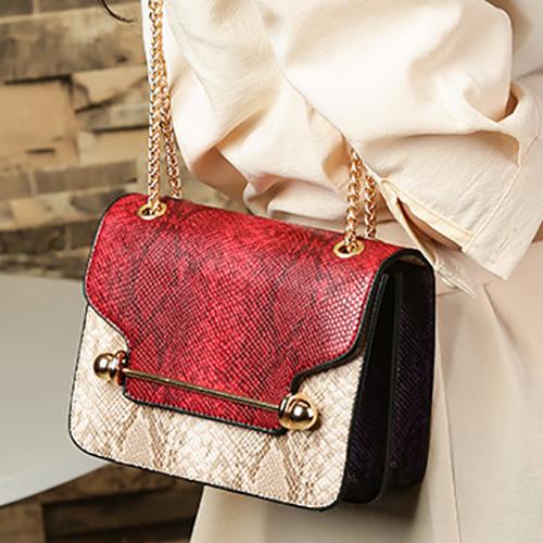 Stylish Patchwork Red PU Crossbody Bag