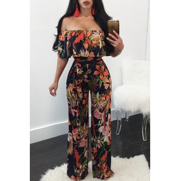 Stylish Dew Shoulder Floral Print Qmilch One-piece Jumpsuits