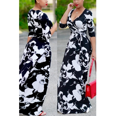 Euramerican V Neck Printed Black Polyester Ankle Length Dress