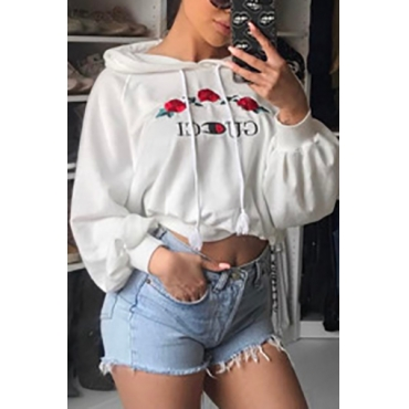Leisure Long Sleeves White Knitting Hoodies