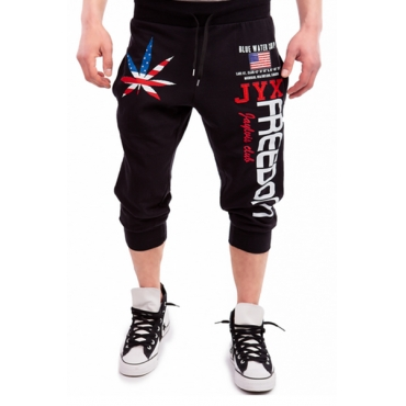 Leisure Elastic Waist Printed Black Cotton Blends Pants