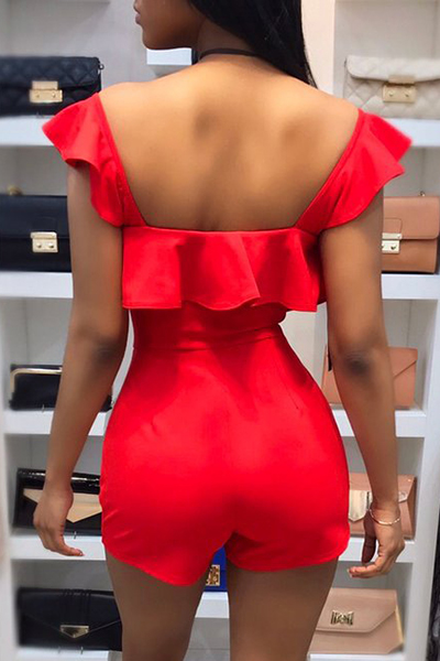 Sexy V Neck Backless Red Twilled One-piece Skinny Jumpsuits