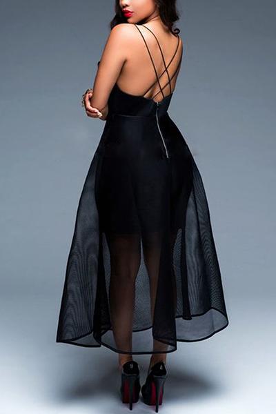 Sexy V cuello gasa de remiendo negro de leche de fibra de longitud de tobillo vestido