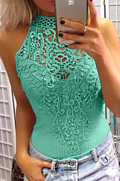 Stylish Round Neck Hollow-out Green Lace One-piece Skinny Jumpsuits