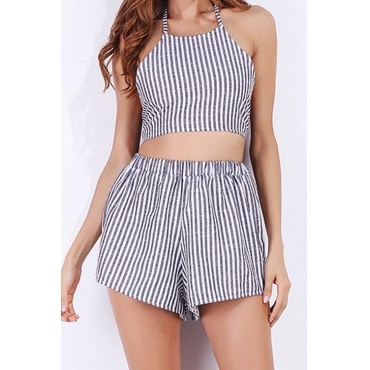 Multi Blending Shorts Striped O neck Sleeveless Casual Two Pieces