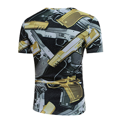 Leisure Round Neck Short Sleeves Pistol Printing Blending T-shirt for men