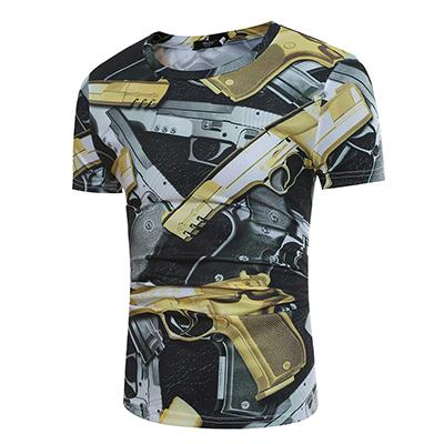 Leisure Round Neck Short Sleeves Pistol Printing Blending T-shirt for men