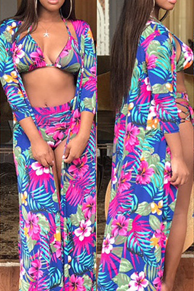 Trendy Printed Hollow-out Milk Fiber Two-piece Swimwear (With Shawl)