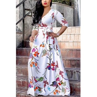 Stylish  V Neck Half Sleeves Printed White Milk Fiber Floor Length Dress