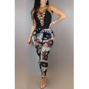 Sexy Deep V Neck Printed Hollow-out Black Milk Fiber One-piece Skinny Jumpsuits