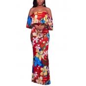 Fashion Floral Print Red Milk Fiber Ankle Length Dress