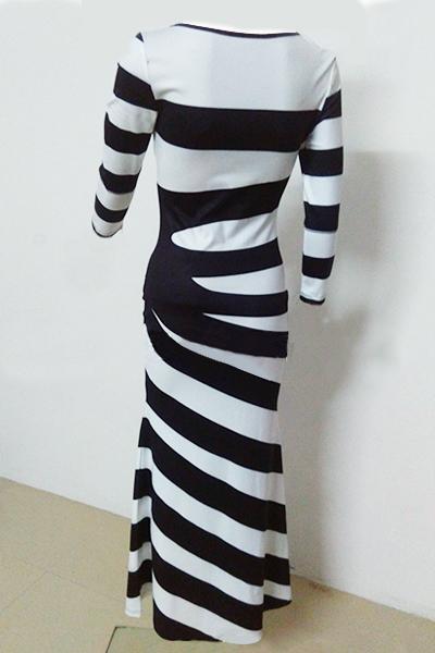 Casual O cuello de tres cuartos de manga de algodón rayado mezcla de vaina vestido de tobillo de longitud