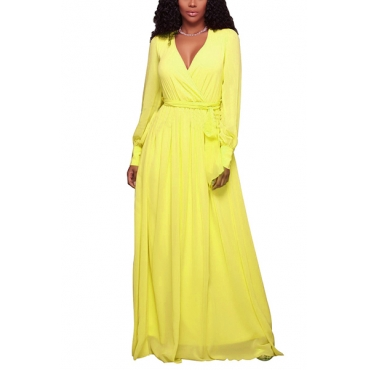 Chiffon Fashion V Neck Long Sleeve A Line Floor length Dresses