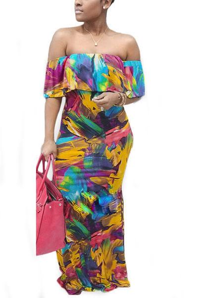Qmilch Print Bateau Neck Short Sleeve Floor length Dresses