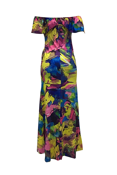 Qmilch Print Bateau Neck Short Sleeve Vestidos de comprimento de chão