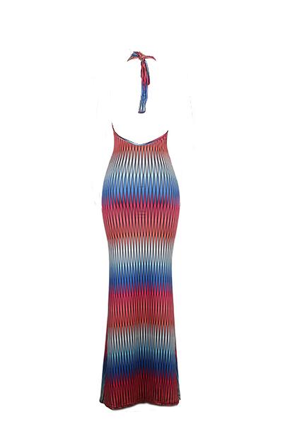 Lunghezza del vestito sexy scollo a V senza maniche Digital Printing latte del tessuto di seta Piano