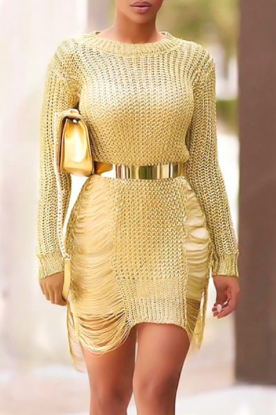 Sexy Round Neck Long Sleeves Hollow-out Gold Polyester Mini Dress(Without Belt)