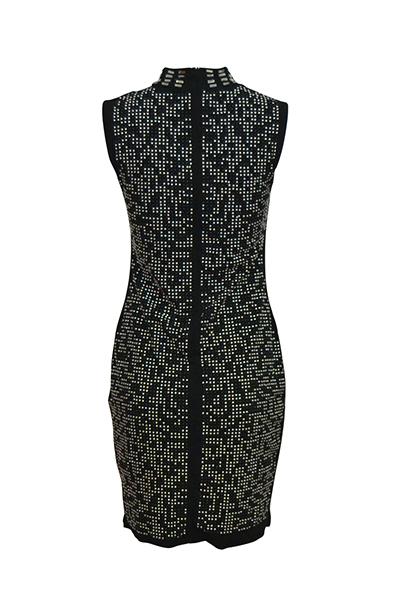 Sexy Mandarin colar mangas Hollow-out preto saudável tecido bainha mini vestido